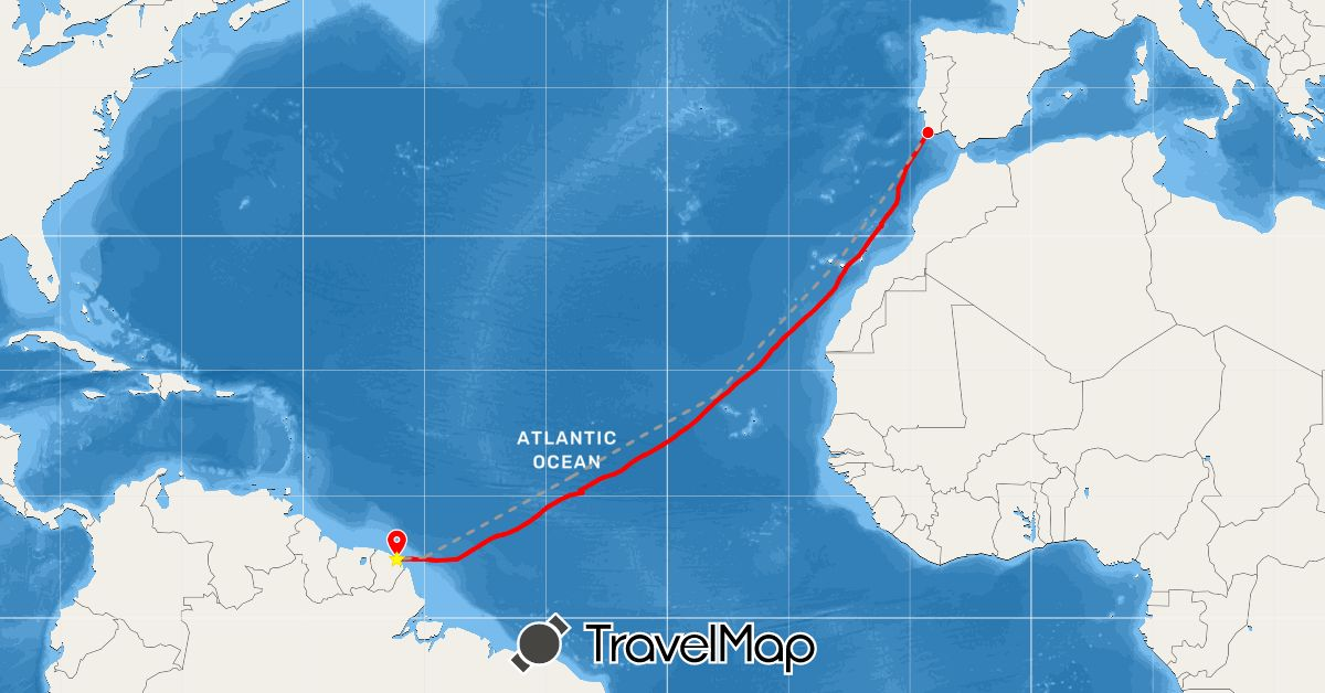 TravelMap itinerary: plane, rowing in Cape Verde, Spain, French Guiana, Portugal (Africa, Europe, South America)