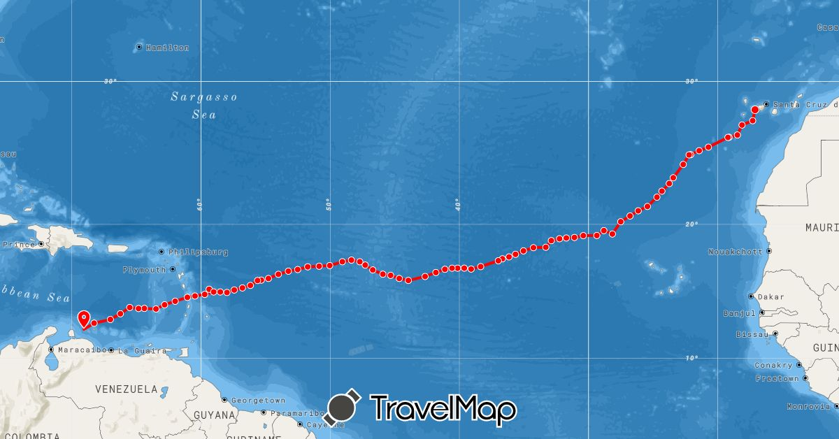 TravelMap itinerary: rowing in Curaçao, Spain (Europe, South America)