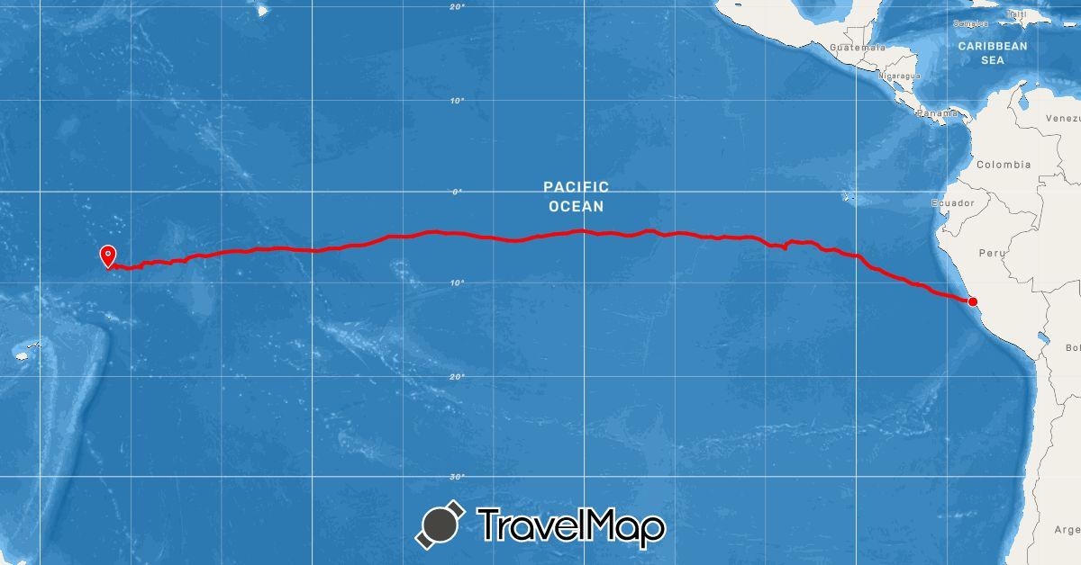 TravelMap itinerary: rowing in Peru, Tokelau (Oceania, South America)