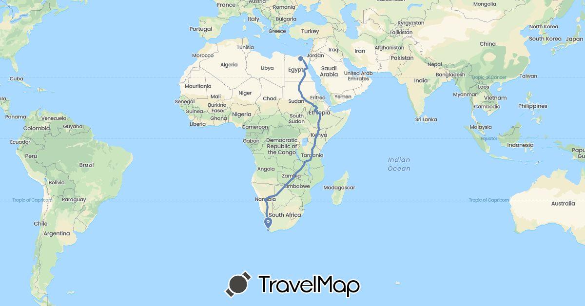 TravelMap itinerary: cycling in Botswana, Egypt, Ethiopia, Kenya, Namibia, Sudan, Tanzania, South Africa, Zambia (Africa)