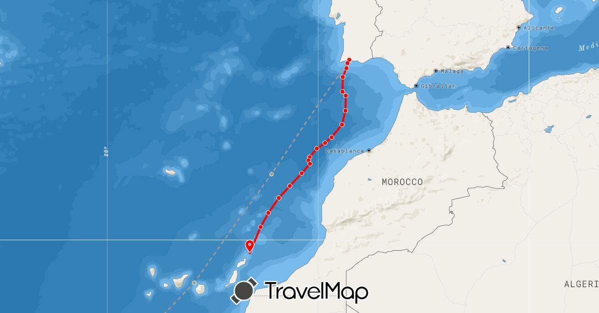 TravelMap itinerary: plane, rowing in Spain, French Guiana, Portugal (Europe, South America)