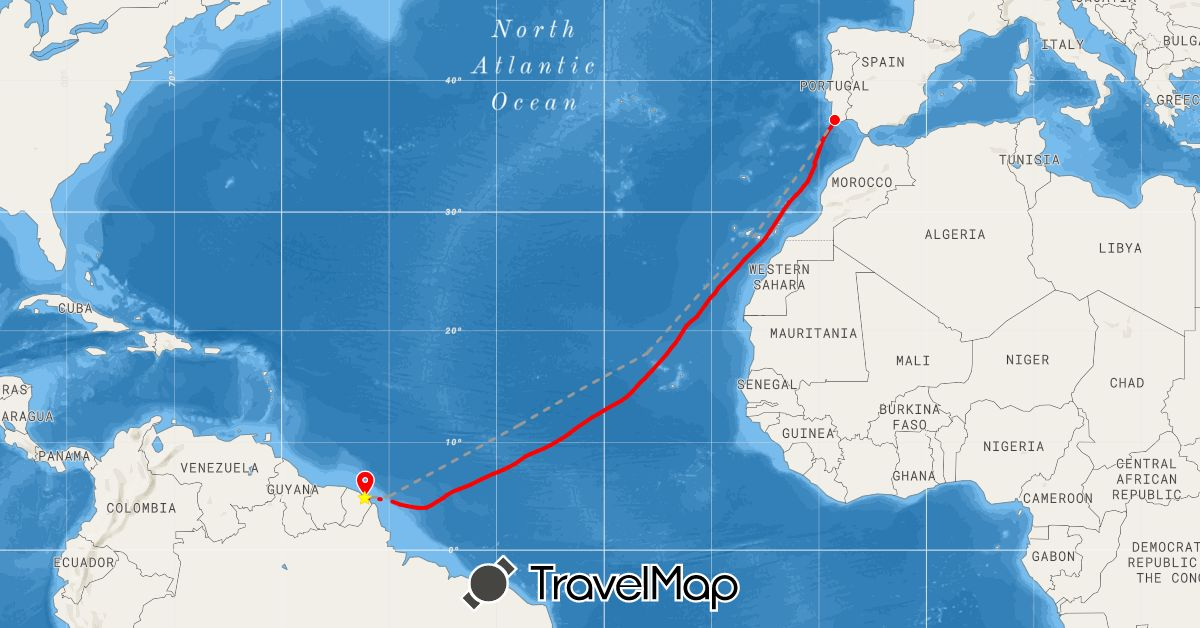 TravelMap itinerary: plane, rowing in Spain, France, Portugal (Europe)